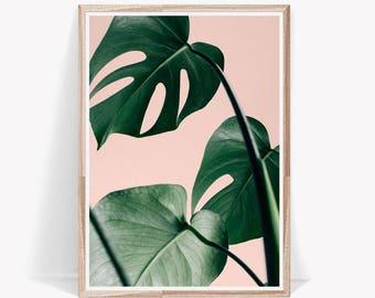 Palm Leaf Print, Wall Print ,Art Print, Pink Wall Art, Tropical Print, Wall Decor, Prints, Large Wall Art, Room Decor, Palm Print, Monstera
