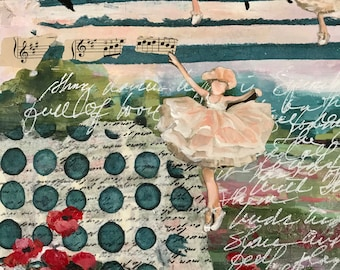 Tiny Dancers, Mixed Media Art, Original Art, Origianl Mixed Media