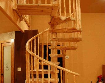 Rustic Pine Spiral Staircase - Custom Made to order!