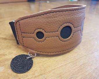 Custom leather martingale greyhound collar - PUNCH pattern