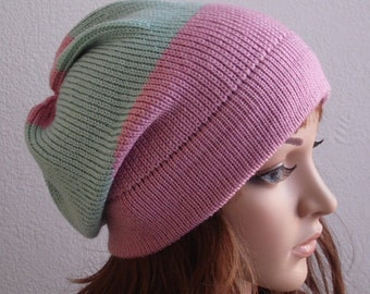Knitted beanie, stylish hat, women's beanie, slouchy hat, slouch beanie, women's hat, winter hat, knitted from lambswool & acrylic blend