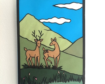 Two deer - Original papercut art
