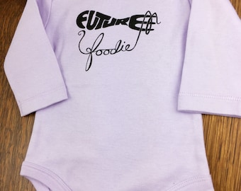 Foodie Gift, Long Sleeve Baby, Organic Baby Clothes, Baby To Be Gift, Trendy Baby, Hand Lettered, Winter Baby Clothes, Future Foodie