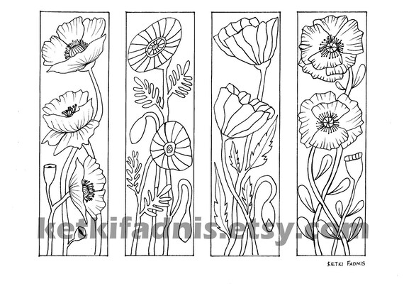 Coloring Bookmarks Poppy Flowers Bookmarks Coloring Page
