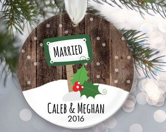Just Married Ornament, Personalized Christmas Ornament, Bride and Groom Gift Newlywed Gift, Wedding Gift, Faux/fake wood OR045