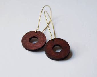 Redwood earrings - Round dangle wooden earrings - minimalist earrings - modern jewelry - Sustainable wooden earrings - Simple chic earrings