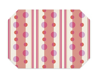 Peach placemat, geometric placemat, with cream and pink, striped placemats, washable placemats, fabric placemat, table linens, table setting