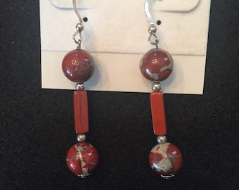 Ceramic Beads, Fresh Water Pearls, and Sterling Silver Earrings