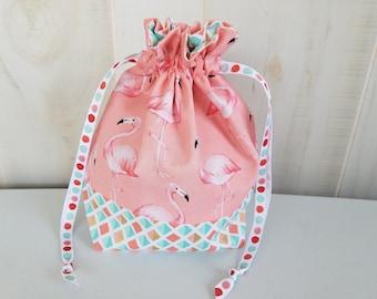 Sock Project Bag: Flamingos