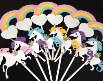 Unicorn Cupcake Toppers - Rainbow Cupcake Toppers - Rainbow Party - Unicorn Party - Unicorn Decor