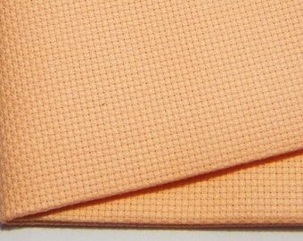 14 count peach Aida - Cut Piece 37.5 x 45 cm.  Use for cross stitch embroidery fabrics.  Brand new piece cut from the roll.  Cross Stitch