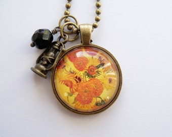 Art Pendant Necklace - Van Gogh Sunflowers - You Choose Bead and Charm - Custom Jewelry - Art Jewelry - Vincent Van Gogh - Customized