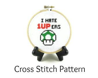 Mario Bros Mushroom - I Hate 1UPers Cross Stitch Pattern