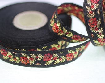 35 mm Black Front Red Floral Jacquard ribbon (1.37 inches) - Jacquard trim - Balkans Decorative Ribbon - Sewing Trim - Collar Trim