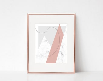 Minimalistic Pink White Marble Geometric Wall Art, Modern Printable Art, Modern Geometric Printable Poster, Marble Print Digital Print