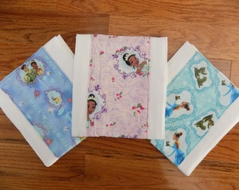 Set of 3 Disney's Princess and the Frog Burp Cloths - Baby Shower Gift