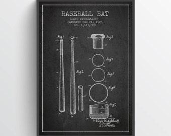 1926 Baseball Bat Patent Wall Art Poster, Baseball Print, Baseball Art Print, Baseball Decor, Home Decor, Gift Idea, SPBA04P