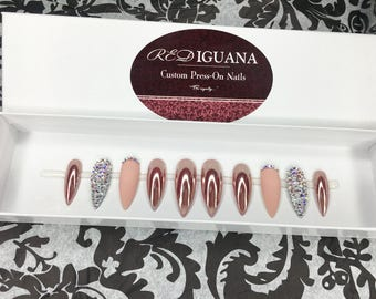 Rose Gold Nails with Matte Accent & Swarovski