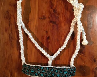 Beaded Mule Tape Halter - Turquoise Cheetah
