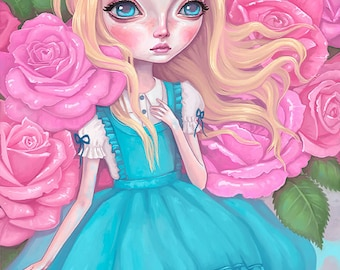 Alice in Wonderland Wall Art - Alice painting, big eyes girl, pop surrealism, girl's room decor, pastel pink roses, lewis carroll, 8x10