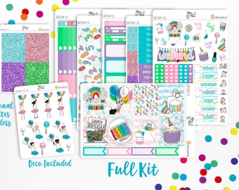 Birthday- A LA CARTE Vertical Weekly Kit planner stickers- Kids, Party
