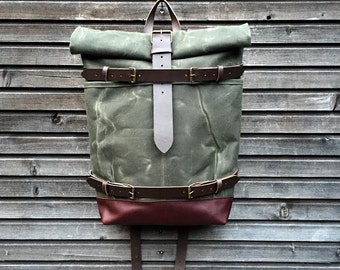 Backpack with skateboard attachment, skateboard backpack in waxed canvas and leather