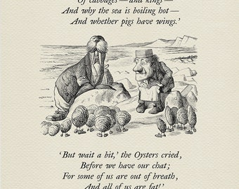 The time has come - The Walrus and the Carpenter - Alice: Through the Looking-Glass poster  based on illustration by J. Tenniel print #79