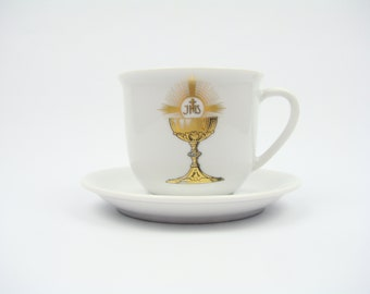 PORCELAIN Bavaria Teacup / saucer COMMUNION - Kronester Bavaria - Souvenir religious chalice - first communion - Made in Germany