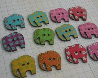 "Wood Elephant Buttons - Wooden Elephants Painted Button - Bulk Buttons - 1 1/8"" Wide - 12 Assorted Buttons"