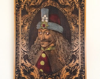 Vlad the Impaler Portrait Engraved on Wood, Dracula Poster, Vlad Tepes Art, Gothic Art, Halloween Decor, Original Artwork, Goth Decor Wall