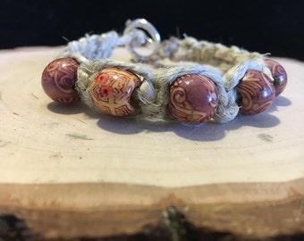 Hemp Bracelet w/ Wooden Beads & Silver Clasp
