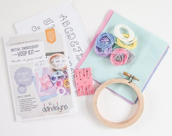 Embroidery Kit | Beginner Monogram Embroidery Kit in Pastel colors, Initial Hoop Art Kit, Gifts for Her