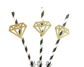 Black & Gold Glitter Diamond Straws - birthday straws, diamond straws, engagement straws, wedding straws, bachelorette