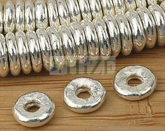 HIZE SB361 Thai Karen Hill Tribe Silver Donut Disc Ring Spacer Beads 6mm (32)