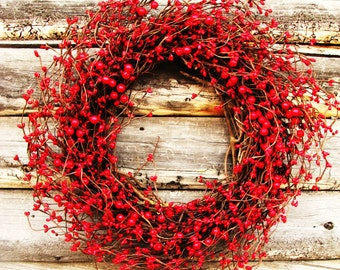 Valentines Day Wreath-Winter Wreath-RED BERRY Wreath-Holiday Wreath-Valentines Day Decor-Holiday Decor-SCENTED Wreath-4th of July Decor-Gift