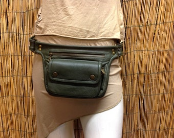 Hip Shoulder bag hip bag travel pouch leather handbag/green color/adjustable strap/handmade/Unisex