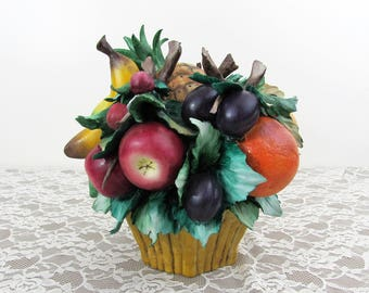 "Vintage Large 10"" Capodimonte Aita Fruit Bowl Basket Centerpiece  - made in Italy - 10x10x10 - ca 70s-80s"