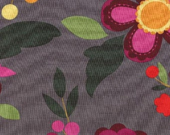 Moda Rooftop Garden Large Floral in Steel 100% Quilters Cotton Available in Yards, Half Yards and Fat Quarters