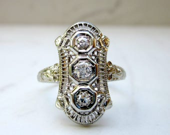 Antique Art Deco Filigree Diamond Shield Engagement Ring in 18k Solid White Gold, Size 8.5
