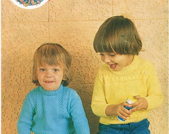 Vintage Knitting Pattern PDF: 1970s Childrens Sweaters Digital Copy