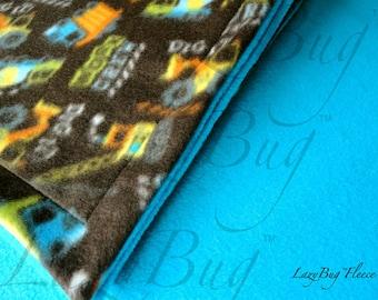 Truck Print Baby Blanket for Boys Handmade Fleece Blanket (28x39)