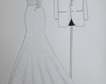 Custom wedding dress sketch and tuxedo, bride and groom attire portrait, paper anniversary, wedding anniversary