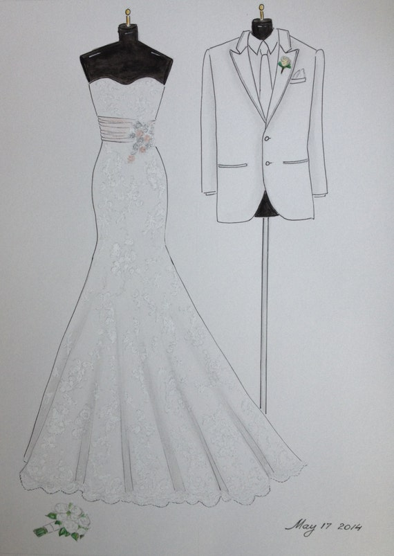 Items similar to Custom wedding dress sketch and tuxedo, bride and ...