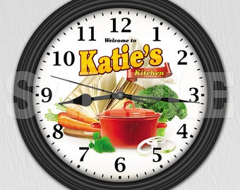 Kitchen Personalized Wall Clock - Kitchen Decor - Cook - Culinary ITEM#071