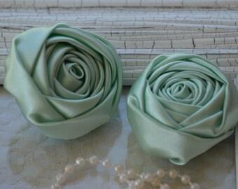 "2"" Satin Fabric Roses, Mint Satin Rolled Rosettes, Satin Roses, Rolled Roses, Fabric Flowers, Satin Flowers, Satin Rosettes, 30 Colors"