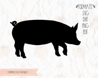 Pig, farm animal, pork, piglet, bacon, SVG, PNG, DXF for cricut, silhouette studio, cut file, cutting machine, vinyl decal,stencil template