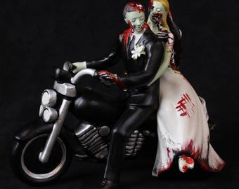 """Zombie  cake topper motorcycle custom """"just Buried"""""""