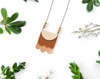 Geometric Layered Leather Pendant Necklace - OOAK - Mixed Material - Leather Jewelry - Statement Necklace - Fun Necklace - Made to Order