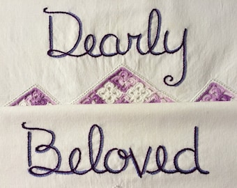 Dearly Beloved, Pillowcases, Hand embroidered, Prince gift, Pride, LGBTQ, Purple decor, Couples gift, Wedding gift, Purple decor