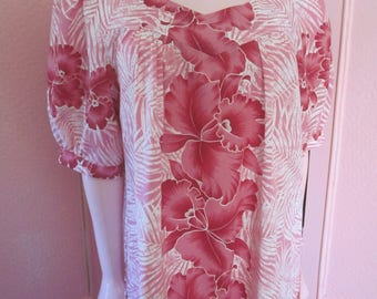 "1980s Pink Floral Print Hawaiian Muu Muu by ""Royal Creations,"" Size M"